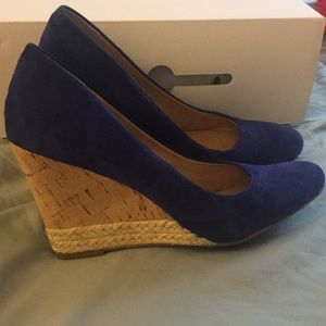 Franco Sarto Shoes - Blue suede wedges